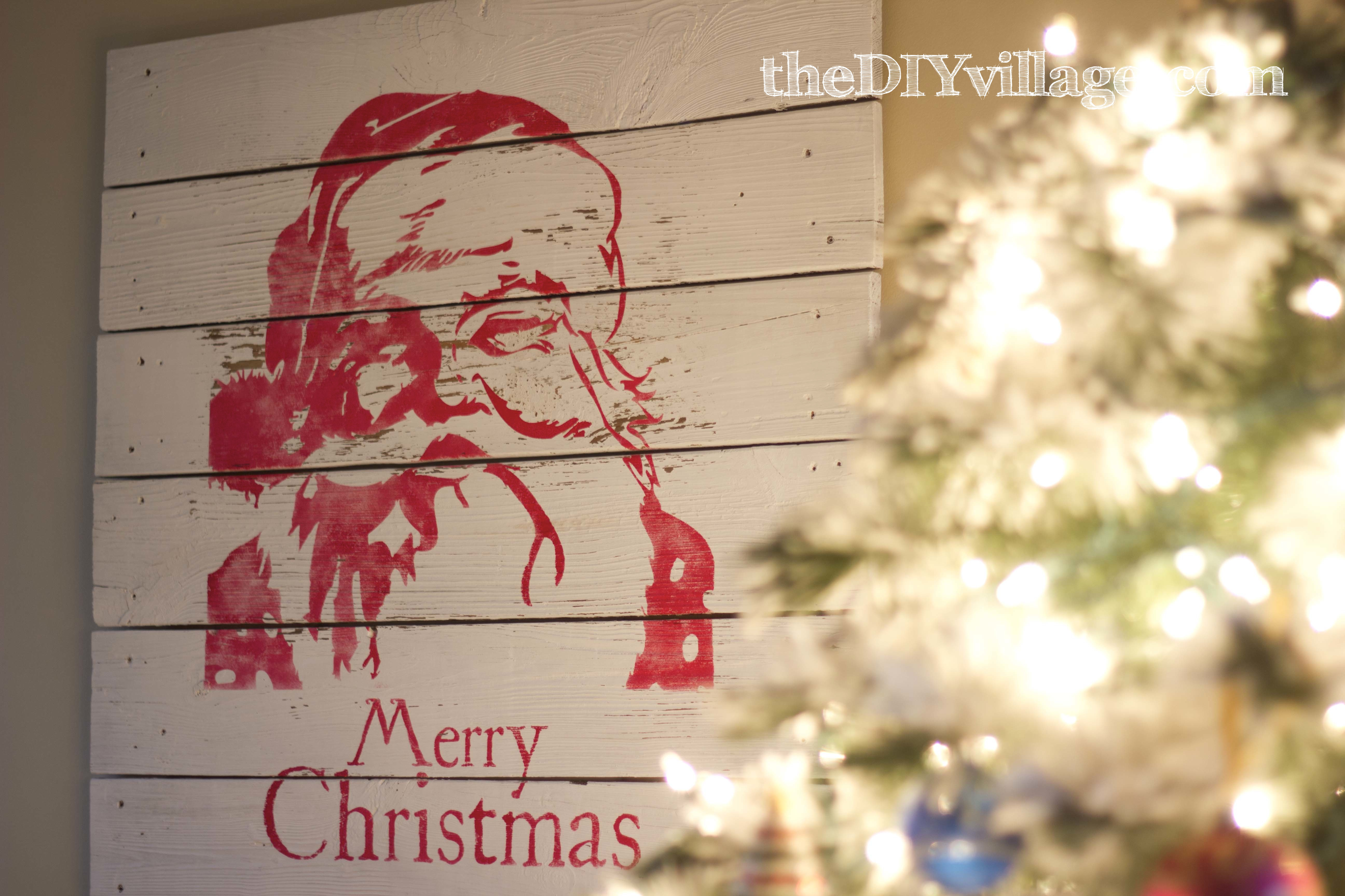 Pottery Barn Inspired Santa Artwork by the DIY Village