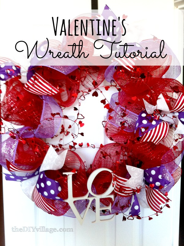 Quick Valentine wreath tutorial using deco mesh and ribbon ... too cute!