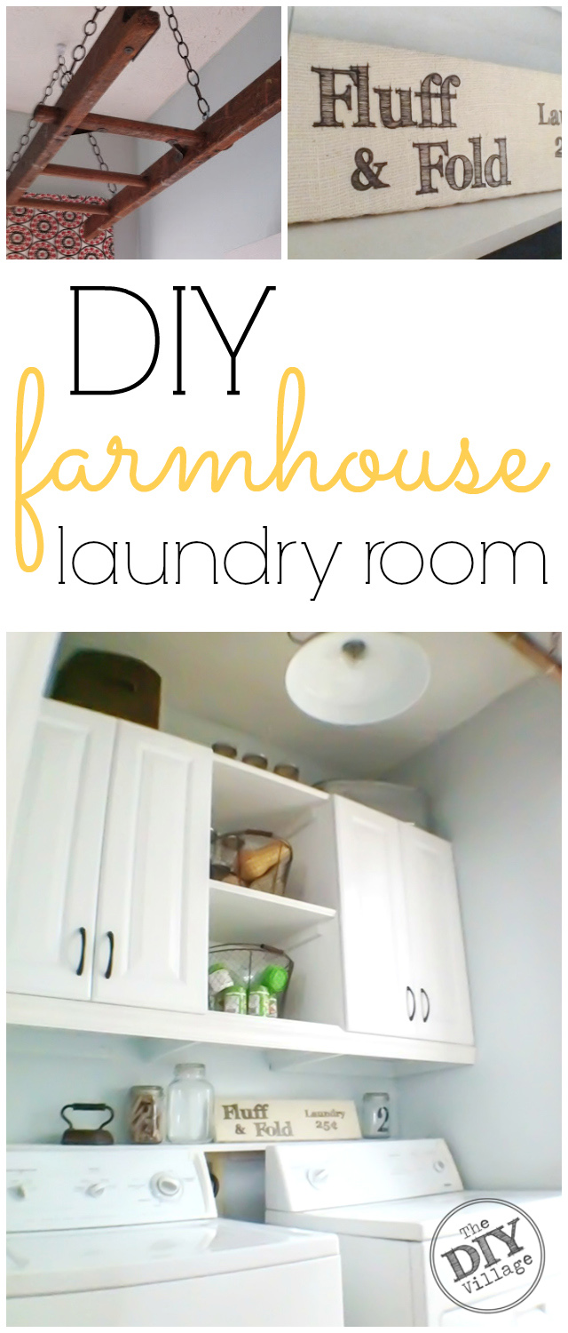 DIY Laundry Room makeover to updated farmhouse style. I love these cabinets and the shelf between them. Gives functional and attractive spaces.