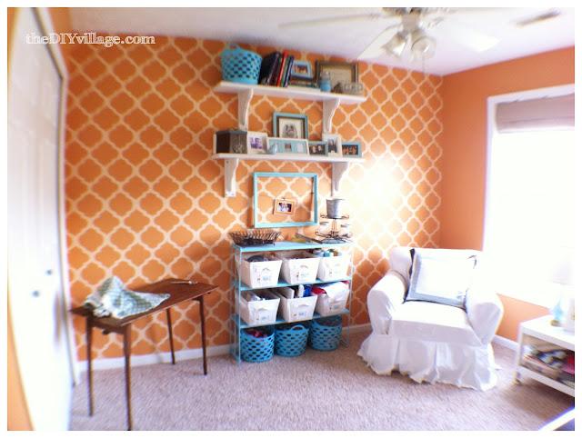 Orange and aqua craft room