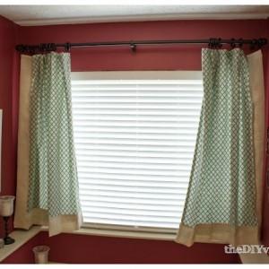 DIY Masterbath Curtains with Burlap Border