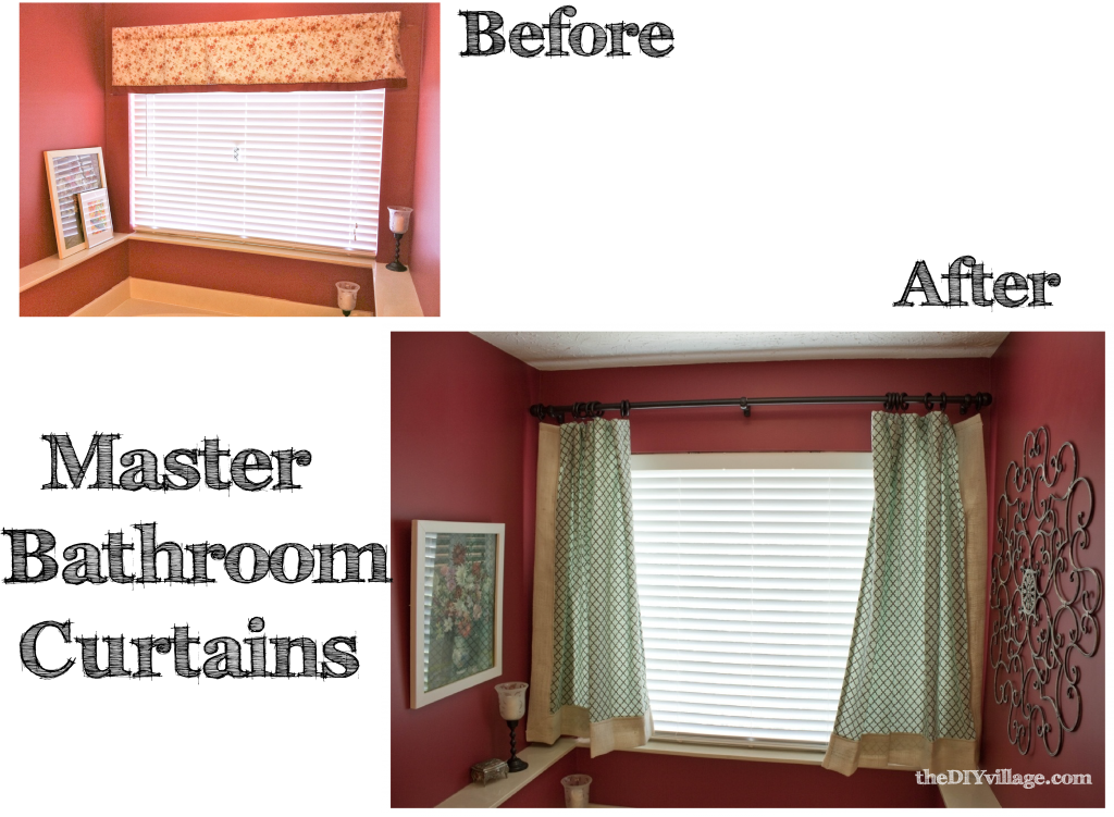 Before & After Burlap Trim Curtian