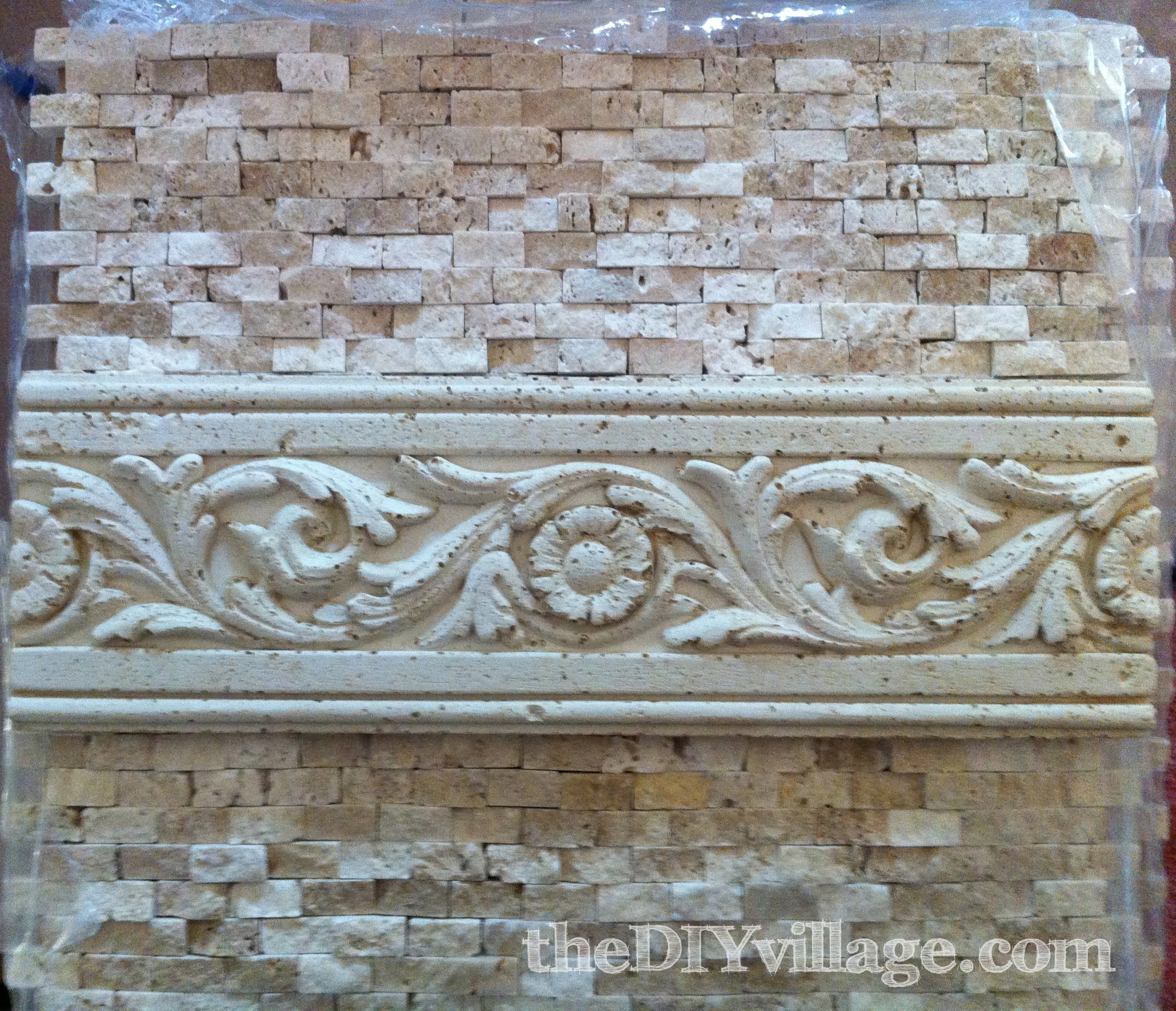 Split face travertine tile backsplash the diy village for Travertine tile designs