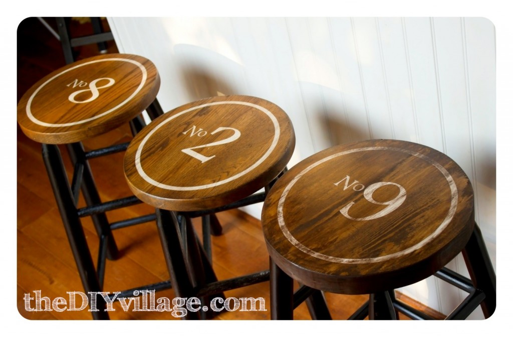 Vintage Industrial Numbered Bar Stools by: theDIYvillage.com