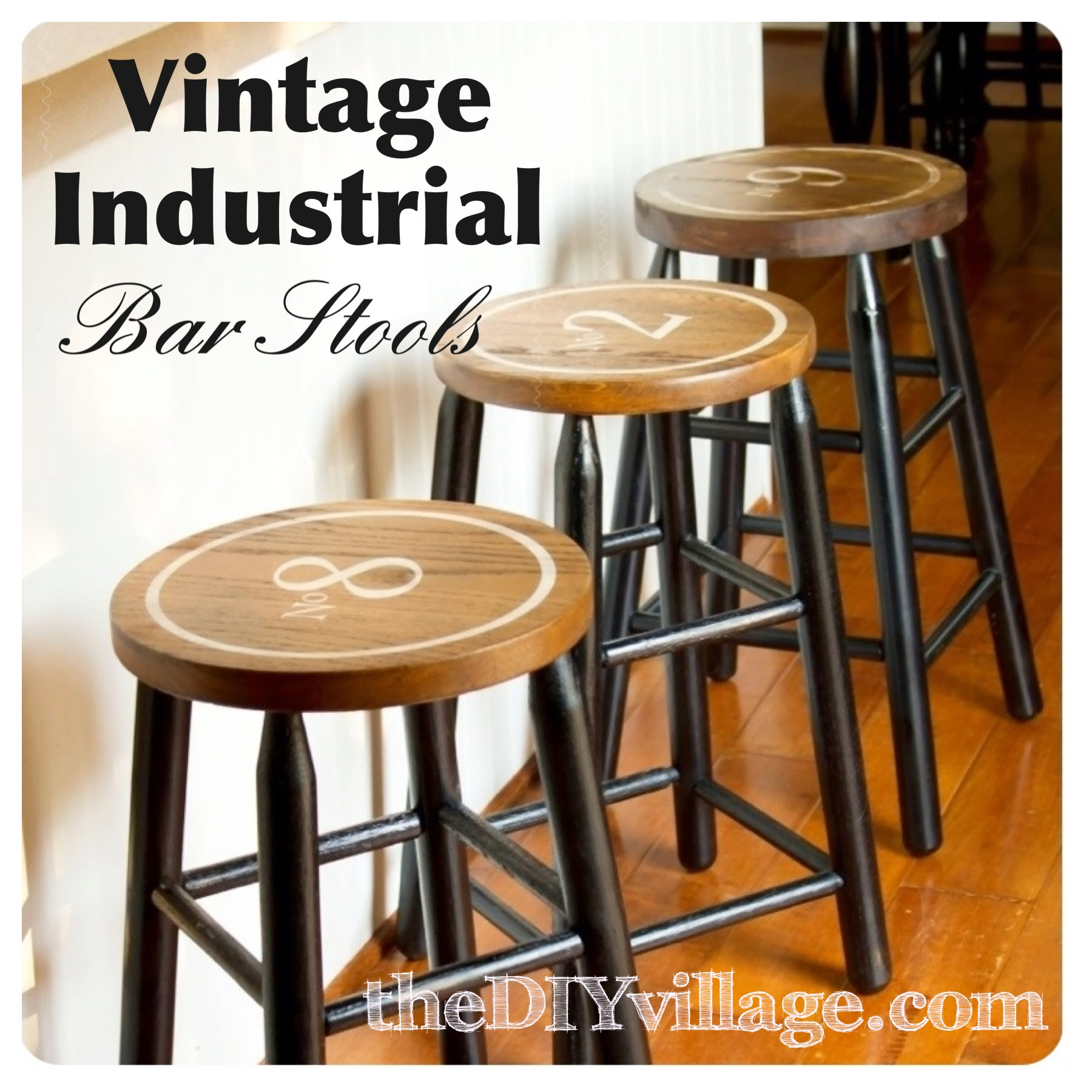 Vintage Industrial DIY Bar Stools