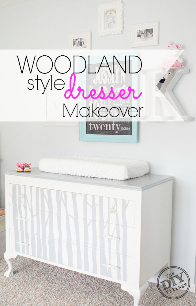 DIY buffet makeover to Woodland style dresser for Girls room!
