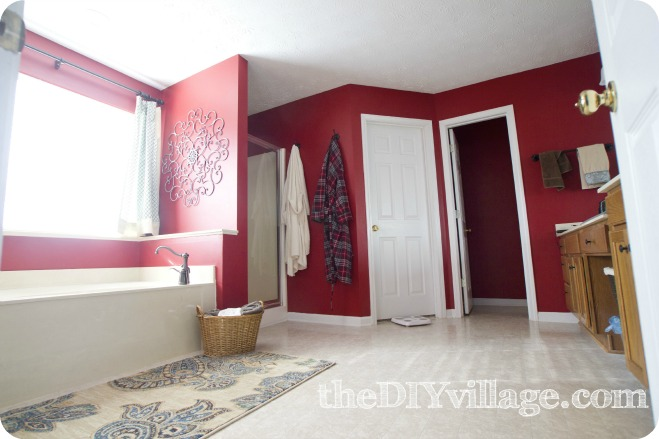 Red Bathroom. Covering Red Paint on Walls in Half the time  UpToTheTest   The