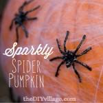 Halloween Sparkly Spider Pumpkin