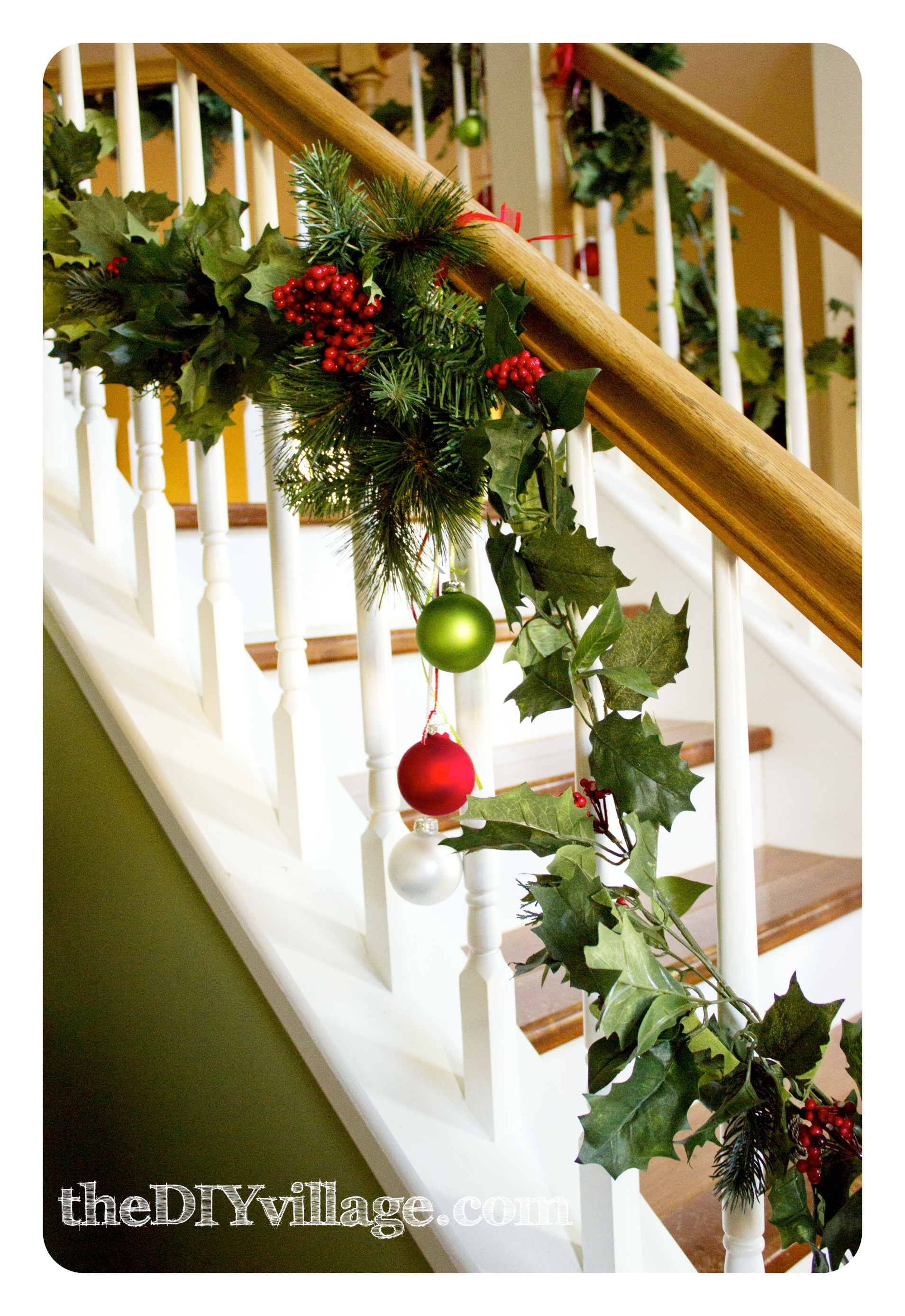 Christmas banister garland the diy village