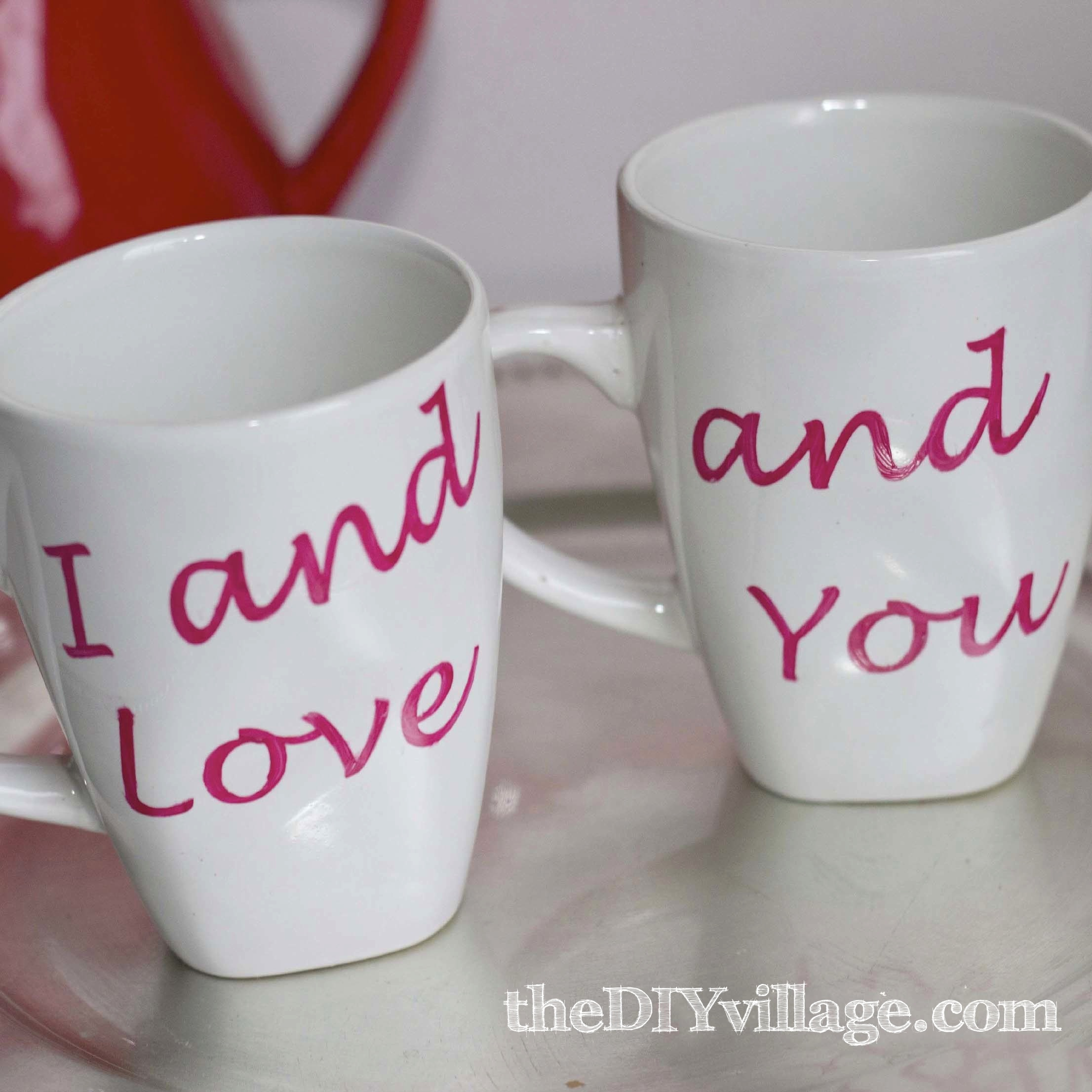 I and Love and You Valentine Coffee Mugs theDIYvillage Repurposed Coffee Mugs