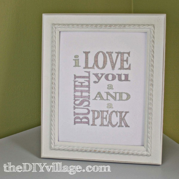 Bushel and a Peck Free Printable at: theDIYvillage.com