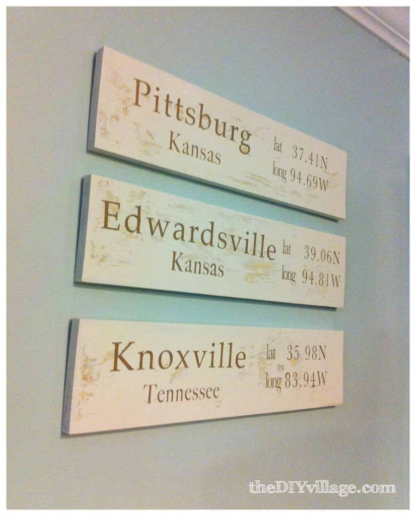 Longitude and Latitude Signs by: theDIYvillage.com