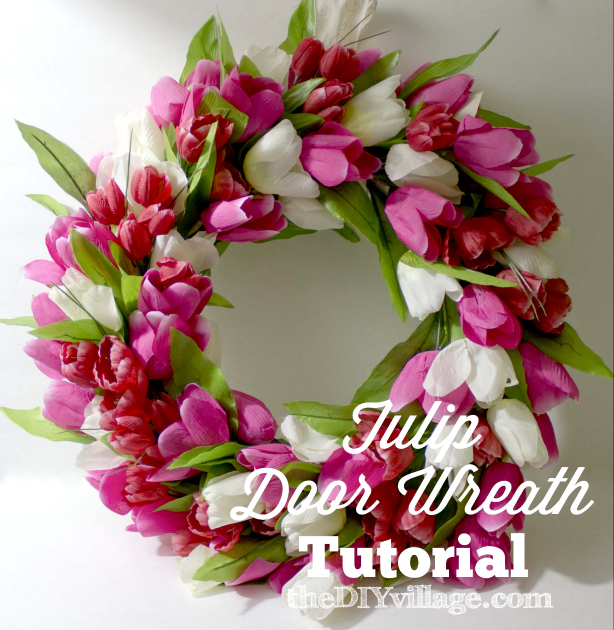Tulip Door Wreath Tutorial by: theDIYvillage.com