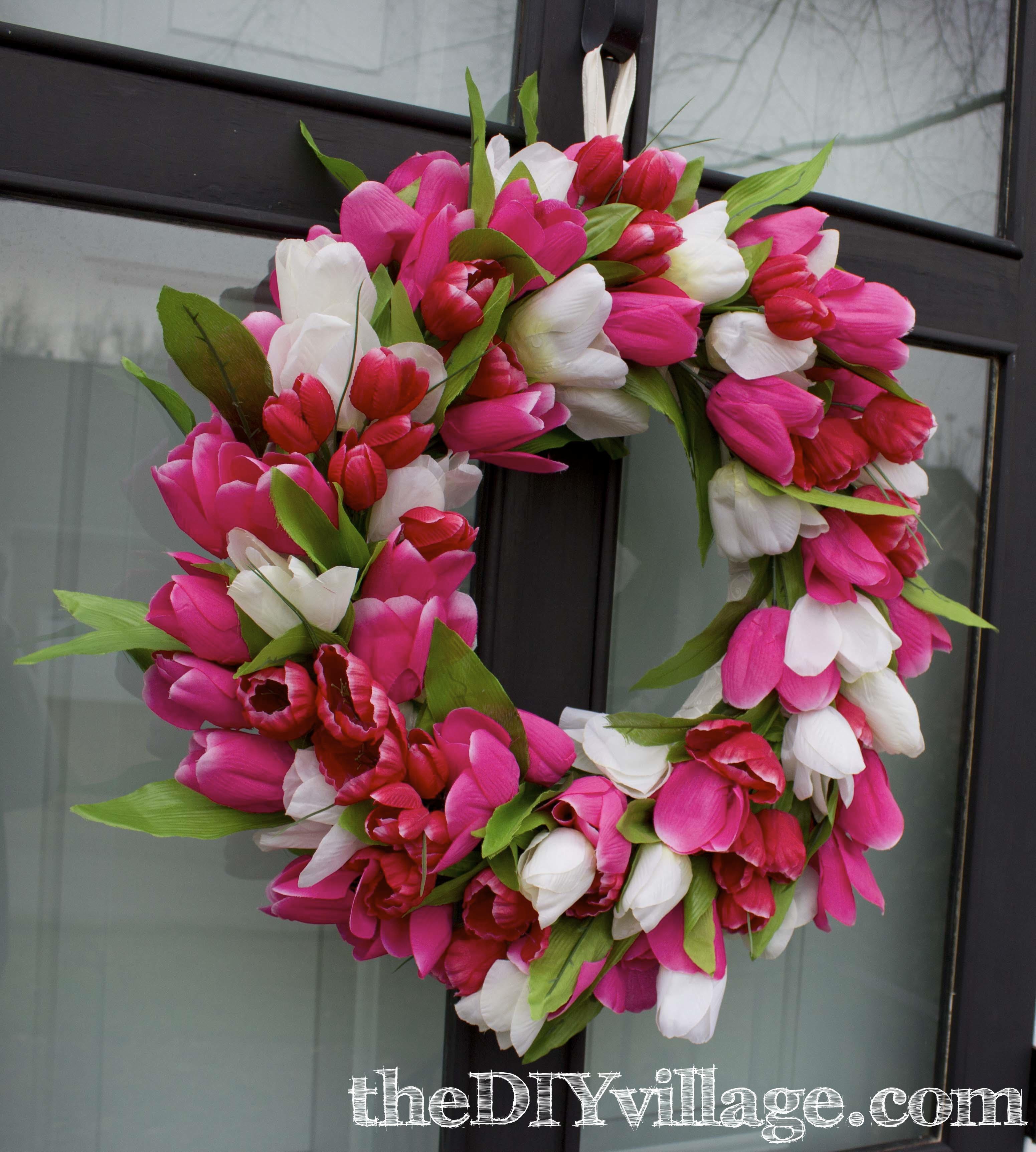 Tulip door wreath for How to make door wreaths for spring