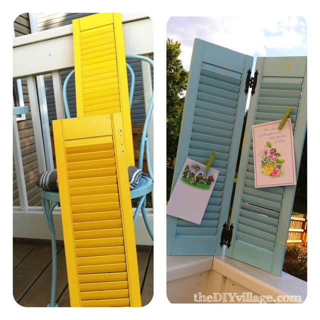 Use shutters to display greeting cards diy card holder shutters before after m4hsunfo