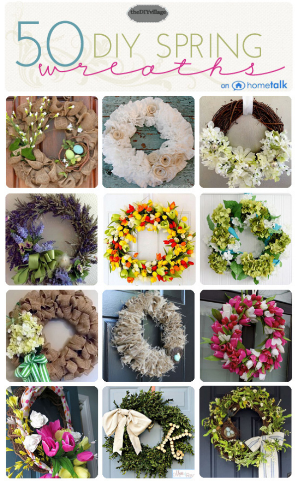 50 Spring Wreath Inspirations at theDIYvillage.com