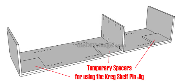 Temporary Spacers Used in Building a Pantry