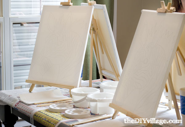 Painting party in your home at theDIYvillage.com