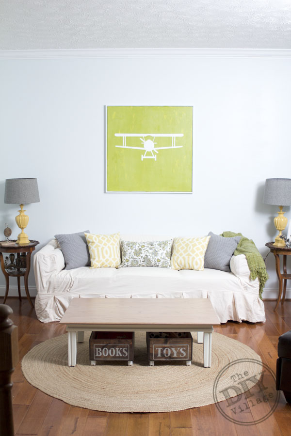 Design Your Own Living Room Free: DIY Vintage Airplane Artwork