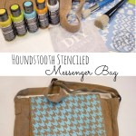 Houndstooth Stenciled Messenger Bag