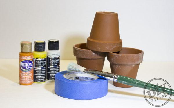 Candy Corn Terracotta Pot