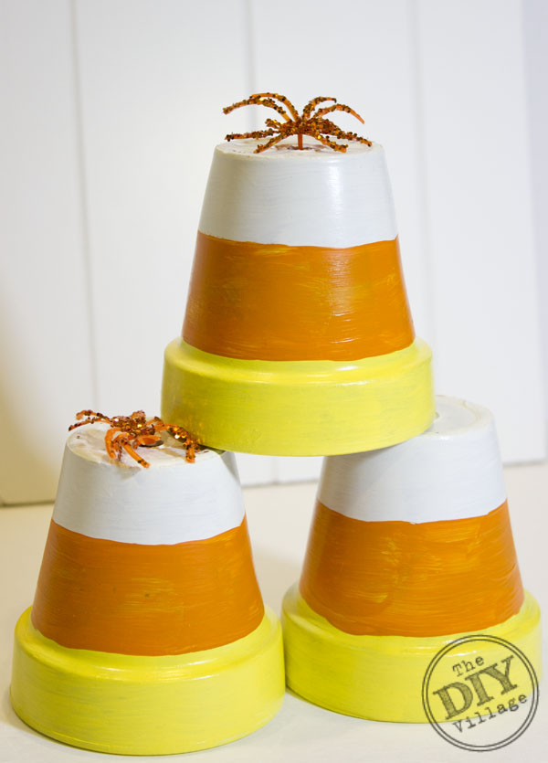 Candy Corn Terracotta Pot Halloween Decor