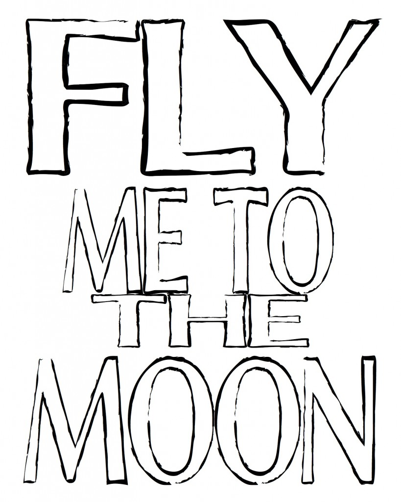 Fly me to the moon outline free printable