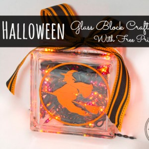 Easy Halloween craft with Free Printable - Glass Block Light
