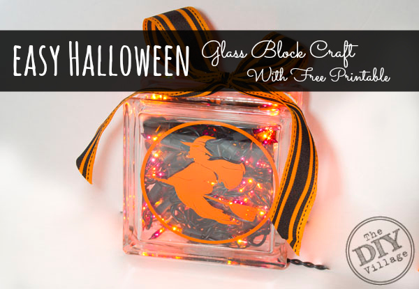 Easy Halloween Craft Lighted Glass Block The Diy Village