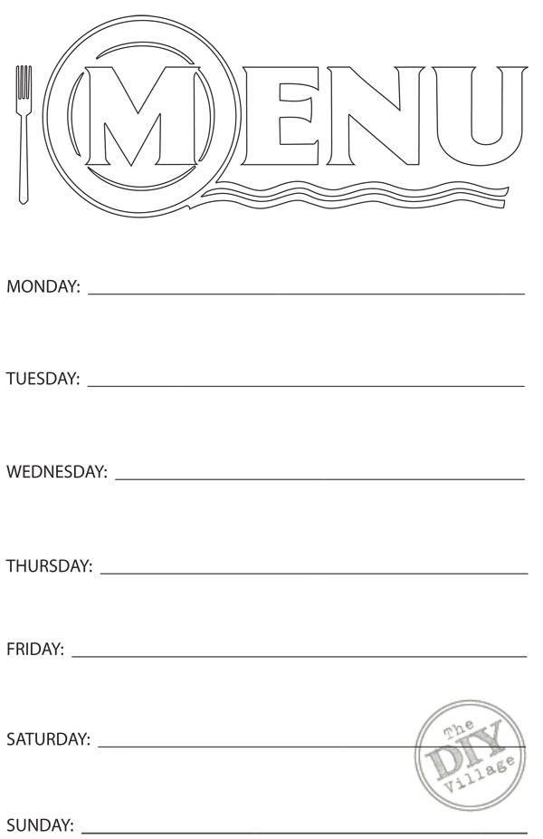 photo regarding Printable Menu known as Cost-free Printable Weekly Menu Planner - The Do-it-yourself Village