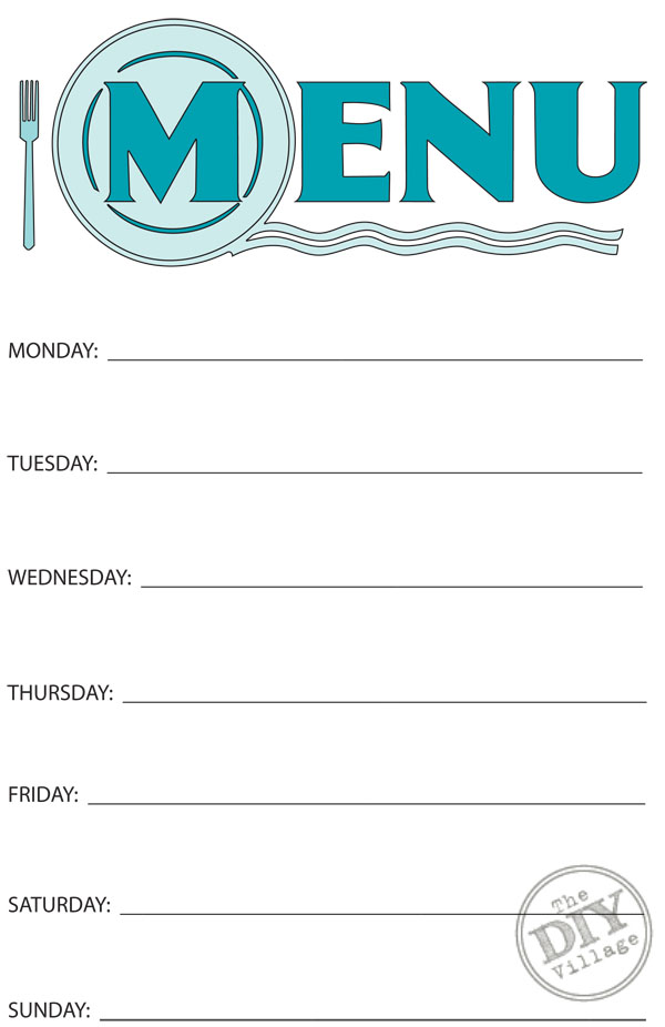 Free printable weekly menu planner the diy village for Free printable menu templates for kids