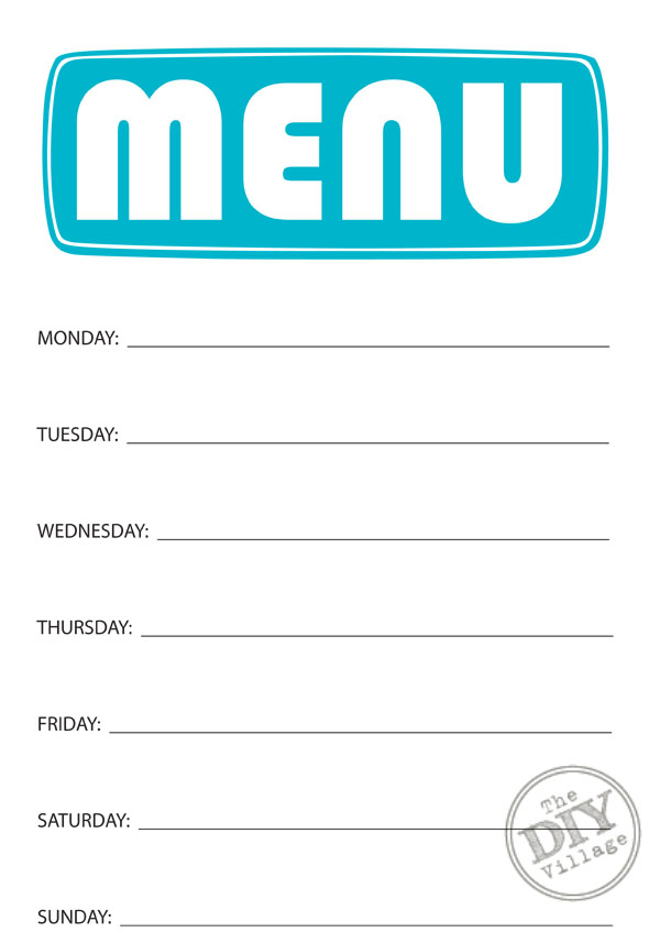 Free Printable Weekly Menu Planner - The Diy Village