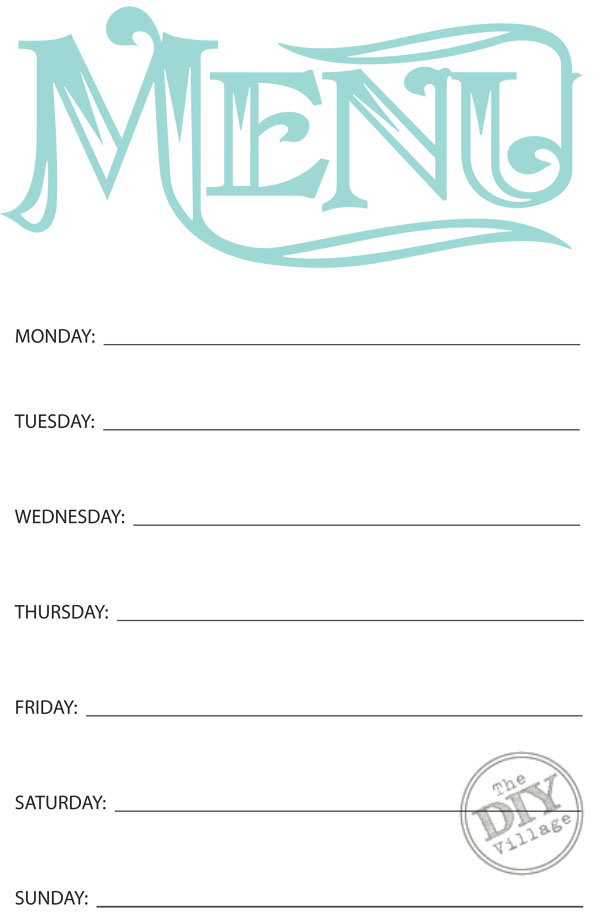 Free printable weekly menu planner the diy village for Monthly dinner menu template
