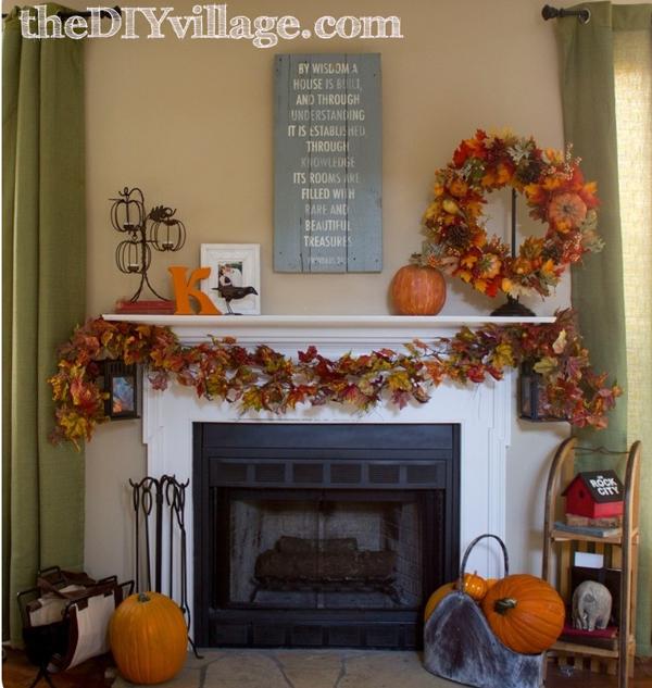 Fall Mantel Decor by The DIY Village