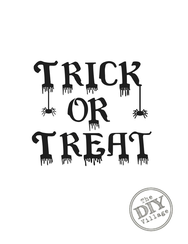 graphic about Trick or Treat Signs Printable called Free of charge Halloween Printables - The Do it yourself Village