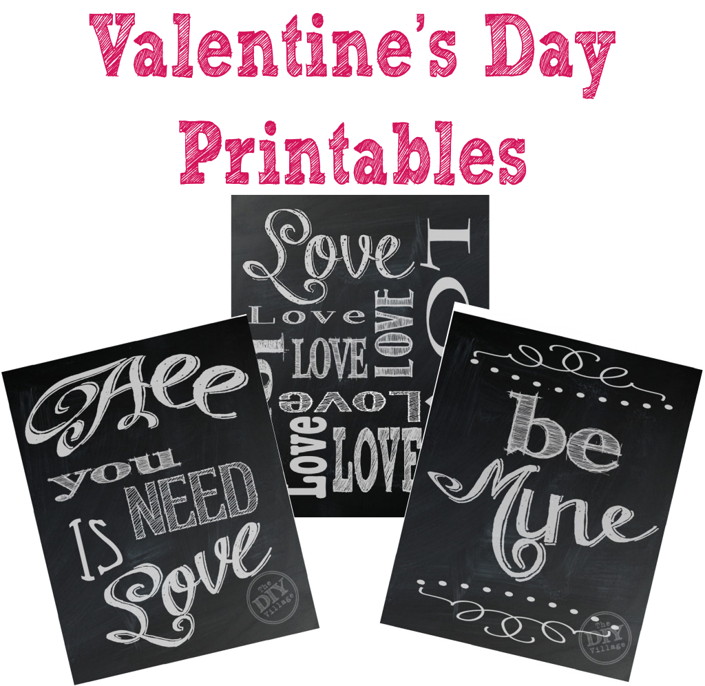 Cute chalkboard Valentine's Day printables