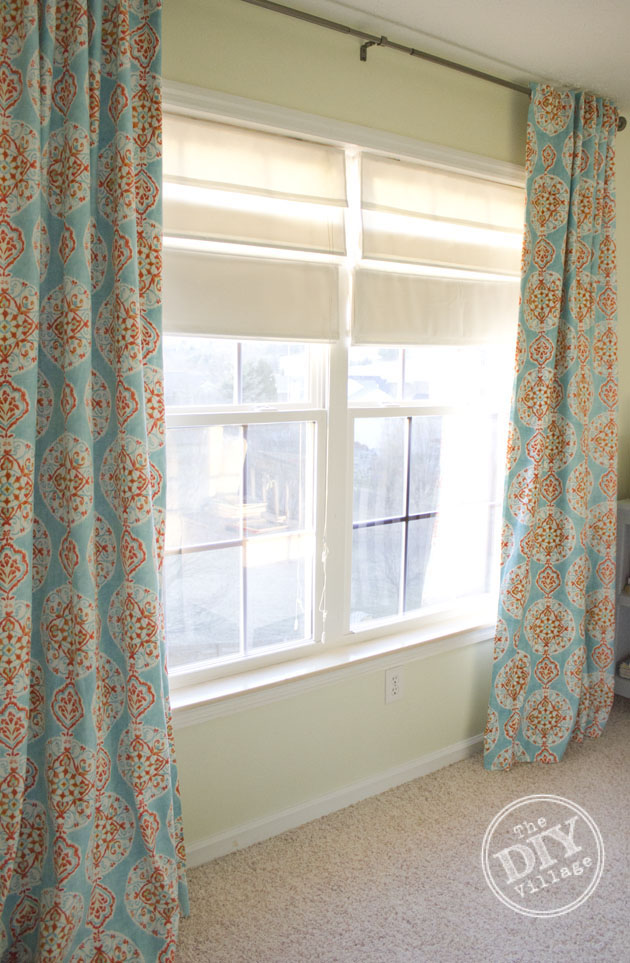 Hidden tab black out lined curtains, perfect for a nursery.