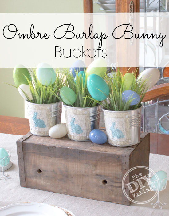 Ombre Easter bunny bucket centerpiece #spring #easter#bunny #centerpiece #homedecor
