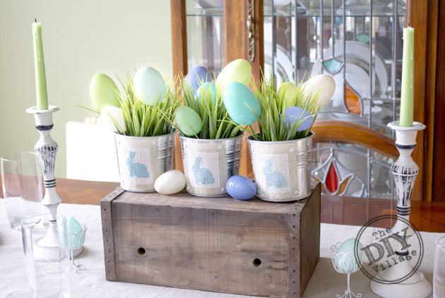 Ombre Easter bunny bucket  centerpiece #spring #easter