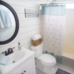 Fresh bathroom makeover to a small boring bathroom.