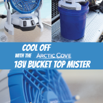 Awesome way to beat the summer heat! Portable 18volt bucket top misting fan by Arctic Cove