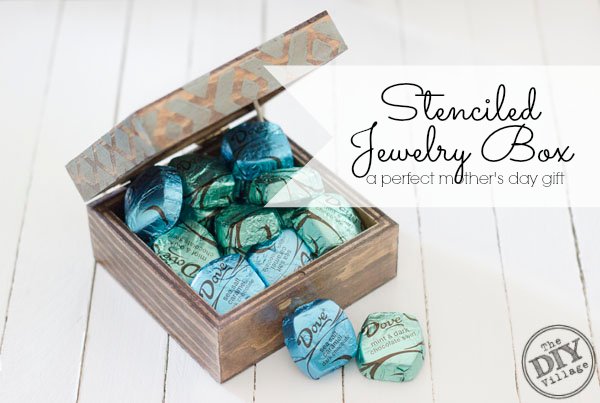 Custom stenciled jewelry box. What a great gift idea for Mom, even I can make one of these!