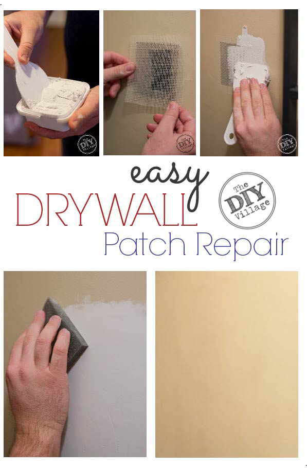 How to repair a hole in the drywall - the EASY way! Step by step of drywall patch repair.
