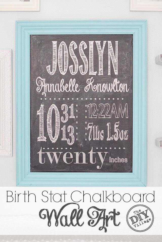 DIY birth stat chalkboard wall art