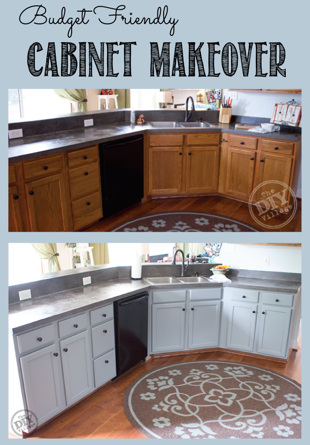 Budget friendly cabinet makeover the diy village for Kitchen cabinets makeover
