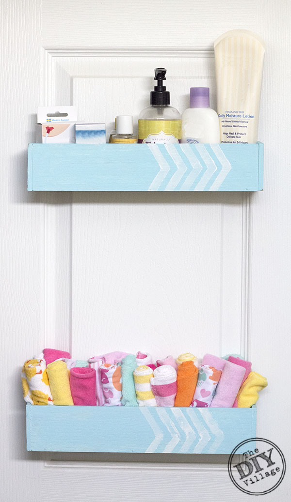 Awesome DIY bathroom organizer for functional storage for inside the closet door.  Perfect for inside vanity doors as well!