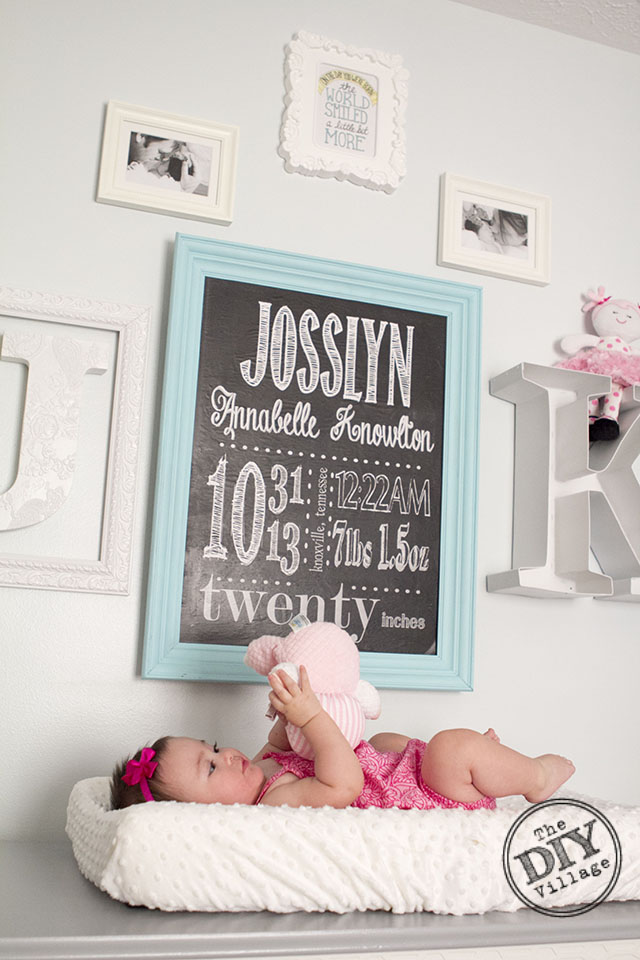 DIY birth stat chalkboard wall art