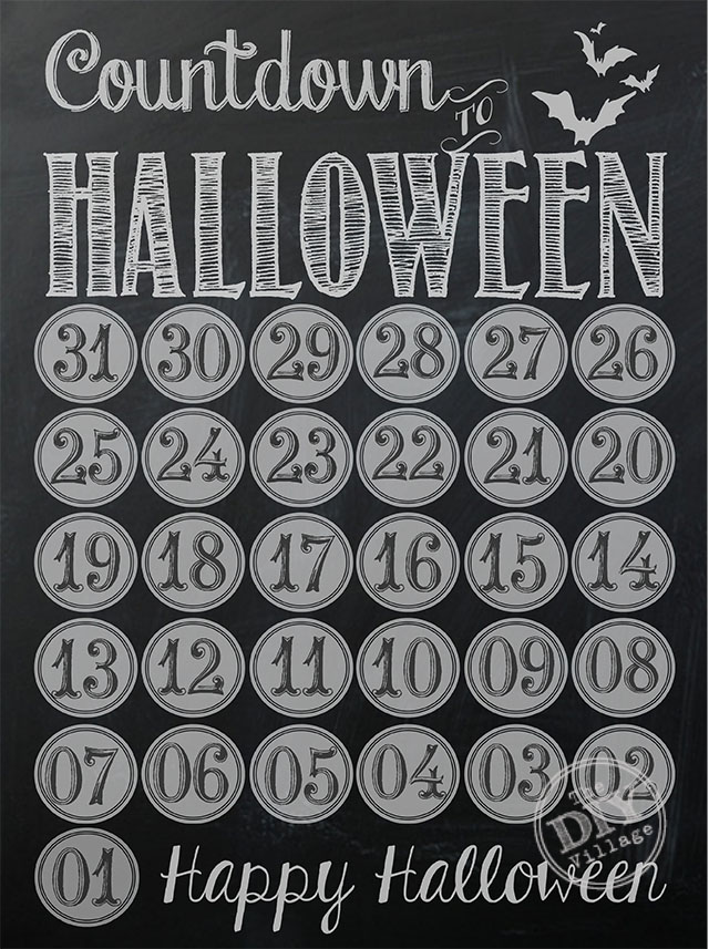Adorable chalkboard printable to help the kiddos countdown to Halloween