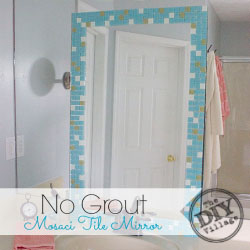 DIY no grout mosaic tile mirror. This is perfect for an apartment! #spon #seriouslystrong