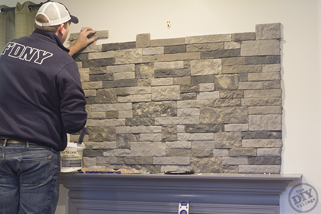 Diy Stone Fireplace Mantel Makeover The Diy Village